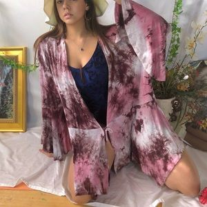 Pink tie dye beach cover up wrap